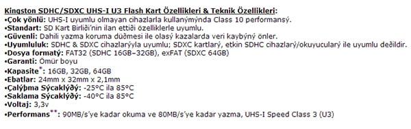 Kingston SDXC-SDHC 64GB teknik özellikler