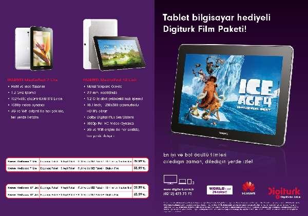 Huawei tabletleri Digiturk'le evlerde