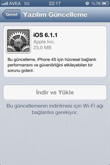 apple ios 6.1.1 güncelleme